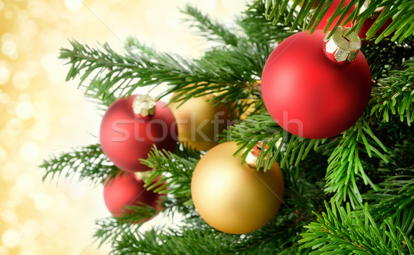 Christmas baubles on lush fir branches Stock photo © Smileus
