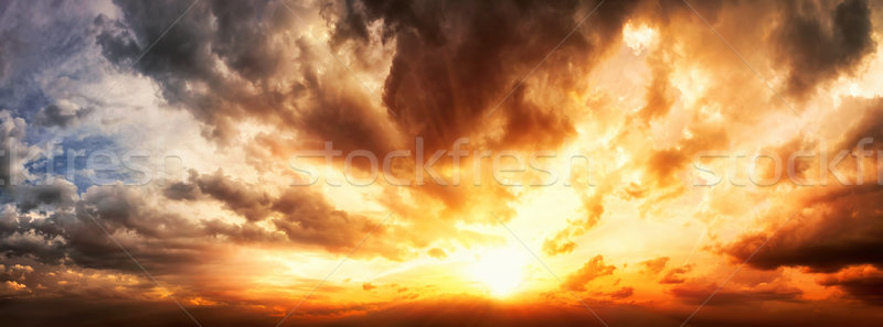 Dramatic sunset sky panorama Stock photo © Smileus