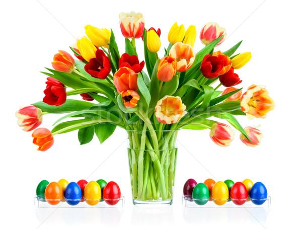 Stock foto: Farbenreich · Bouquet · Tulpen · Vase · herrlich · Glas