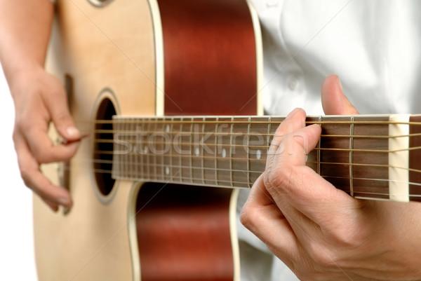 Gry kobiet gitara gracze ręce Zdjęcia stock © Smileus