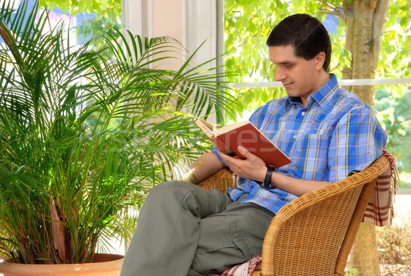 человека книга домой гостиной большой Сток-фото © Smileus