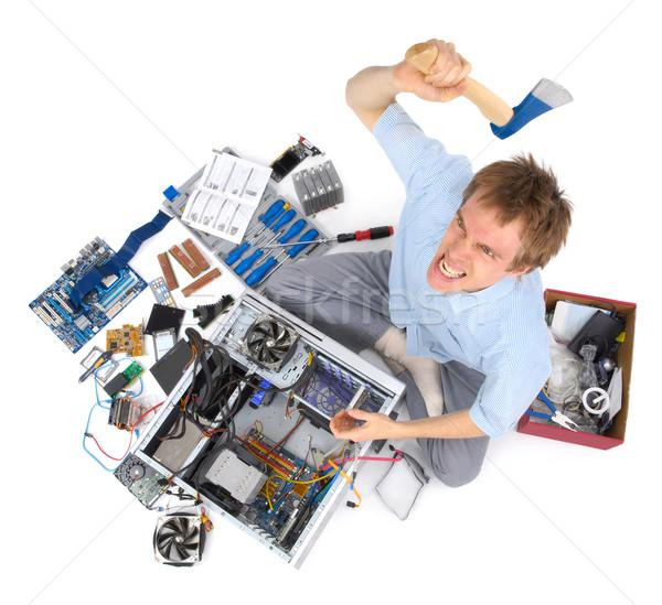 Computer vernietigd geërgerd gek man Stockfoto © Smileus