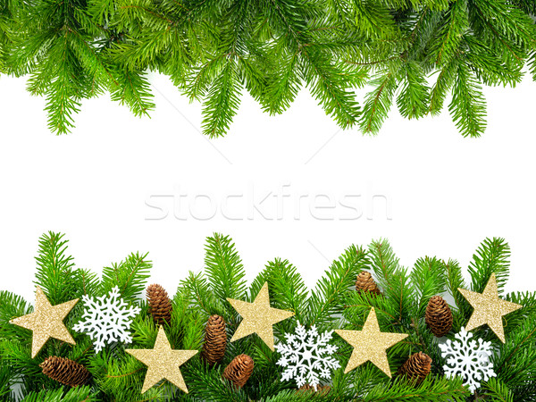 Taze Noel çerçeve Yıldız kar Stok fotoğraf © Smileus