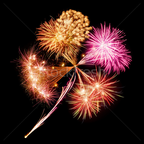 Fireworks in clover leaf shape Stock photo © Smileus