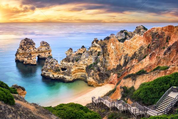 Amanecer playa Portugal hermosa magnífico Foto stock © Smileus