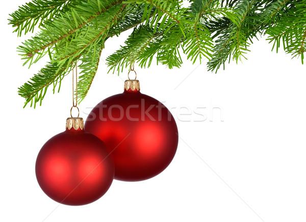 Czerwony christmas wiszący świeże zielone jasne Zdjęcia stock © Smileus