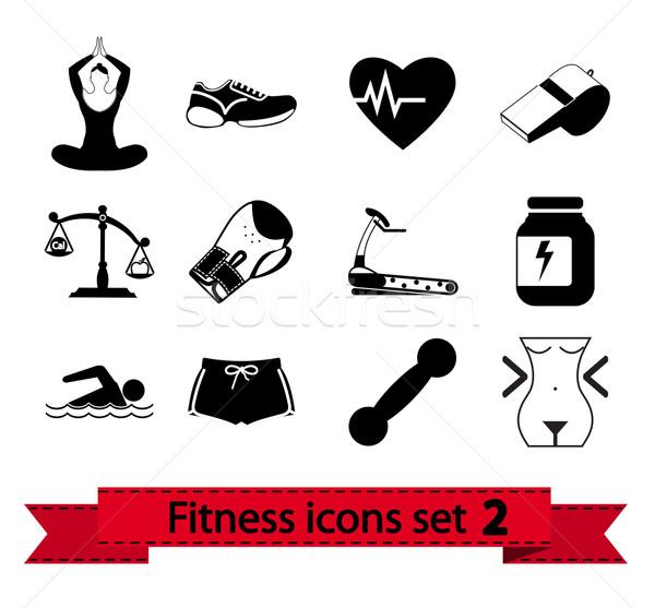 550057914 Fitness · ícone · ícones · coração · esportes · corrida - ilustração ...