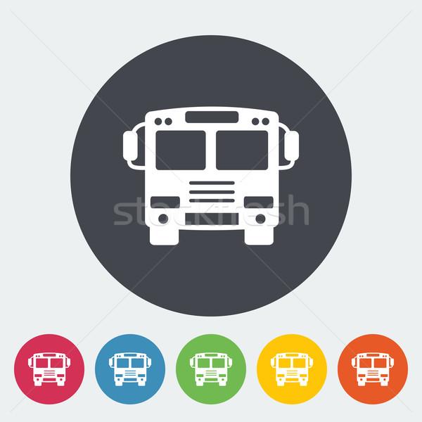 Foto stock: ônibus · ícone · círculo · carro · arte · assinar