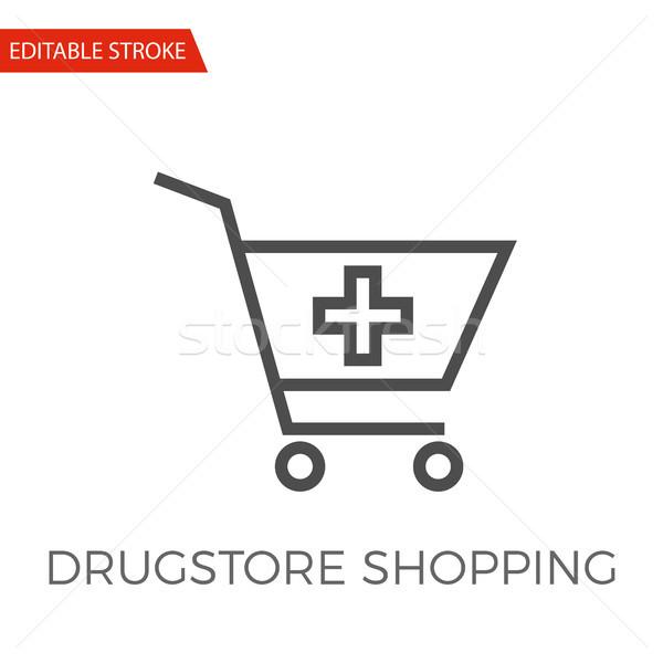 Apteka zakupy wektora ikona cienki line Zdjęcia stock © smoki