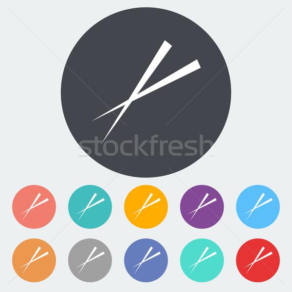 Pałeczki do jedzenia ikona kółko czerwony czarny bambusa Zdjęcia stock © smoki