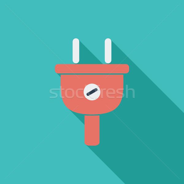 électrique plug icône vecteur longtemps ombre Photo stock © smoki
