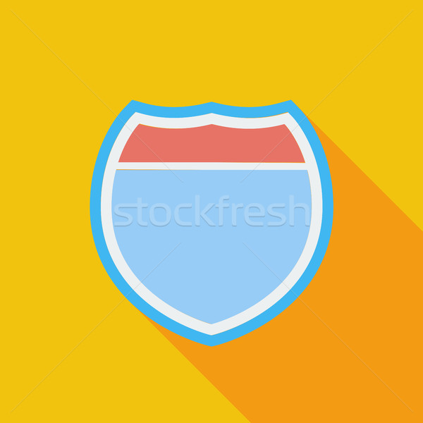 Yol işareti yol ikon vektör uzun gölge Stok fotoğraf © smoki