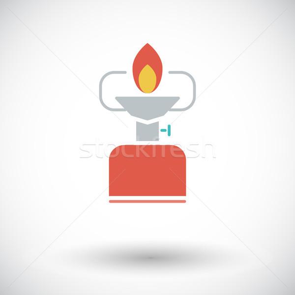 Kempingezés tűzhely vektor ikon mobil háló Stock fotó © smoki