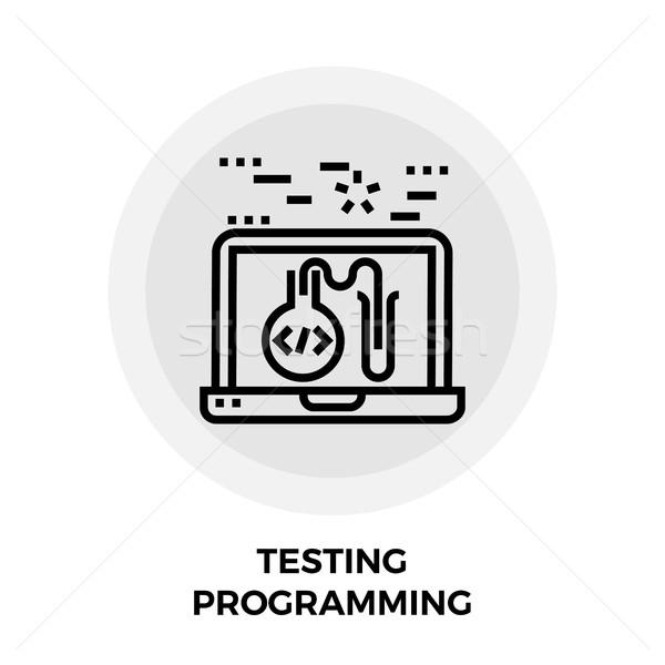 Сток-фото: программированию · линия · икона · вектора · изолированный