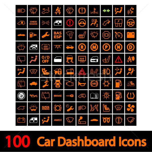100 araba gösterge paneli simgeler ışık dizayn Stok fotoğraf © smoki