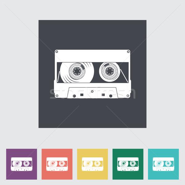 Audiocassette flat single icon. Stock photo © smoki