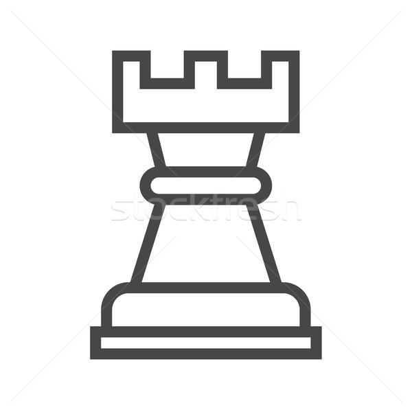 Chess Rook Thin Line Vector Icon Stock photo © smoki