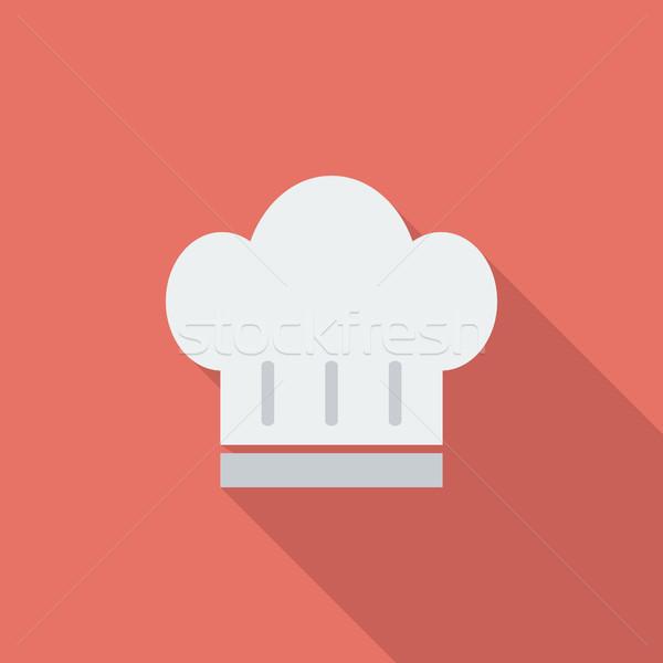 Szakács sapka ikon vektor hosszú árnyék háló Stock fotó © smoki