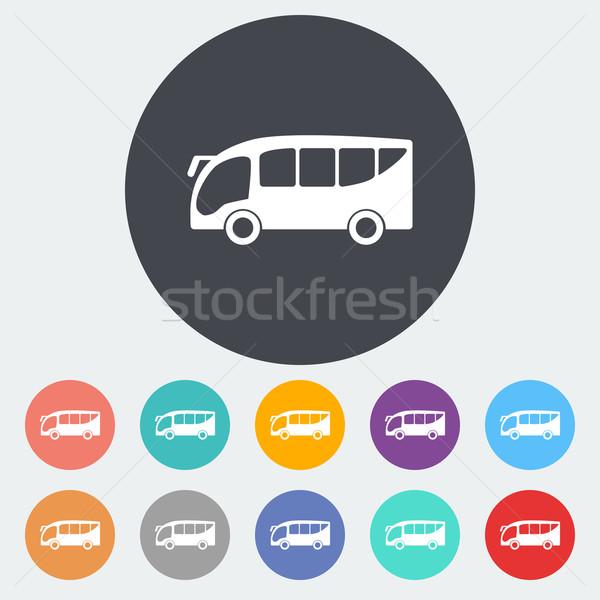 Bus icona cerchio scuola arancione segno Foto d'archivio © smoki