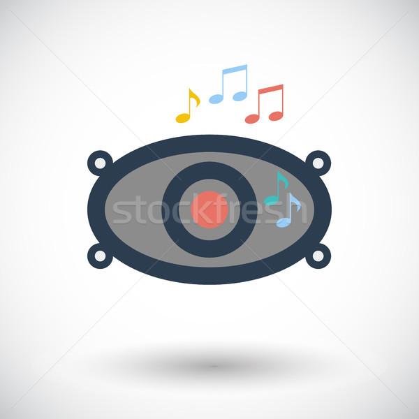 Icône voiture orateurs orateur blanche musique Photo stock © smoki
