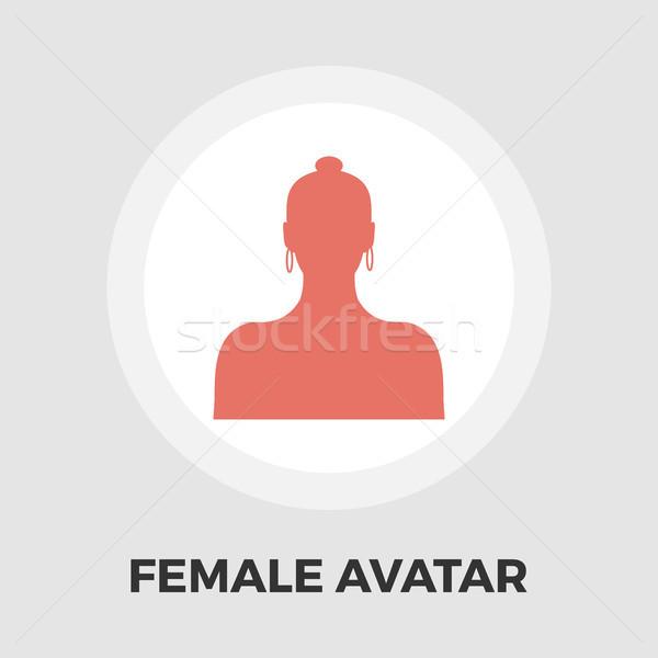 Női avatar ikon vektor izolált fehér Stock fotó © smoki