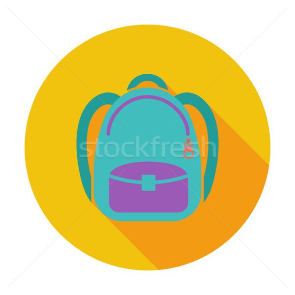 Schoolbag flat icon Stock photo © smoki