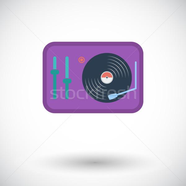 Draaitafel icon witte muziek partij dans Stockfoto © smoki