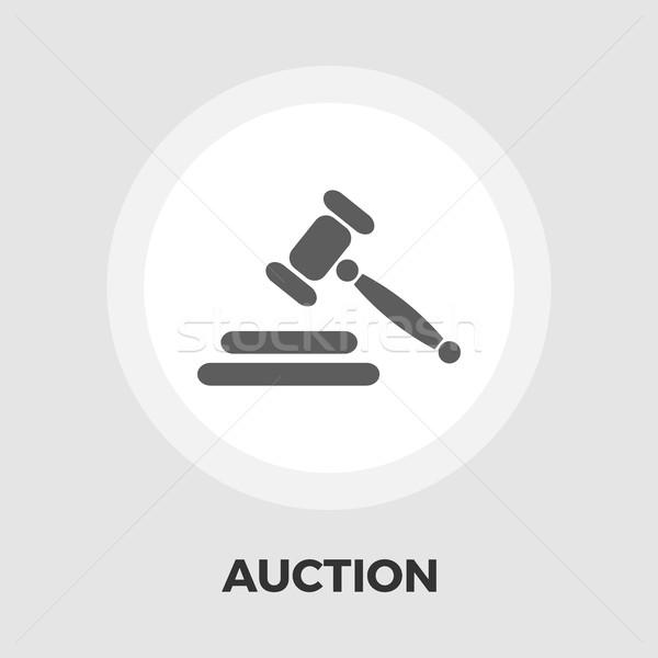 Auction flat icon Stock photo © smoki