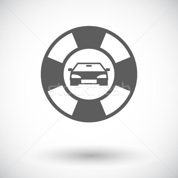 Kant van de weg symbool icon witte auto ontwerp Stockfoto © smoki