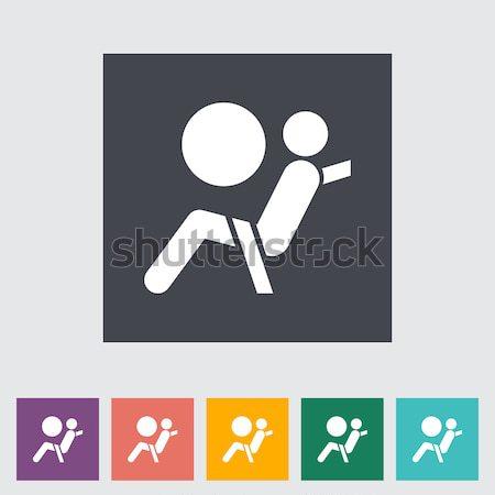 Koltuk kemer ikon beyaz imzalamak güvenlik Stok fotoğraf © smoki