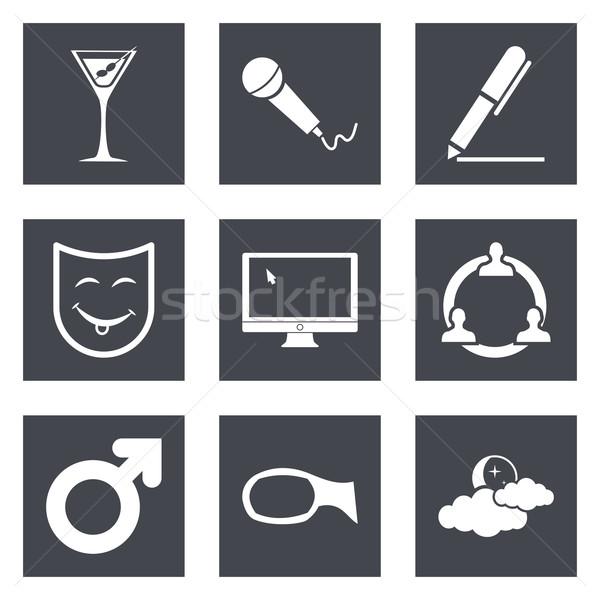 Сток-фото: иконки · веб-дизайна · набор · мобильных · применения · карандашом