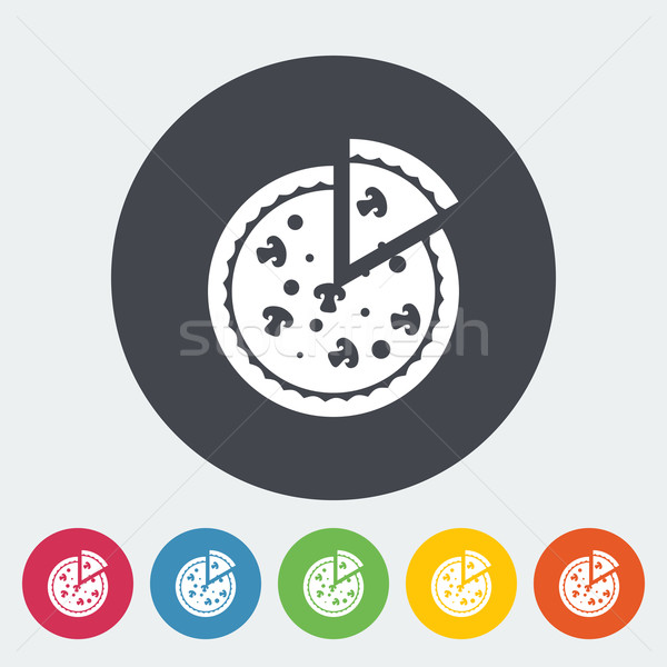 Pizza Ikon Daire Restoran Peynir Boyama Vektor
