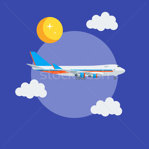 Cargo jet airplane flying in the sky Stock photo © smoki