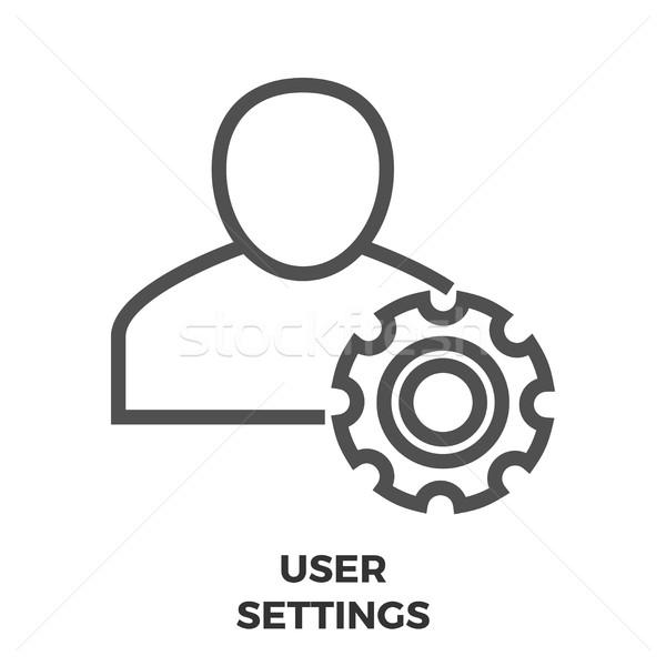 Benutzer Einstellungen line Symbol dünne Vektor Stock foto © smoki