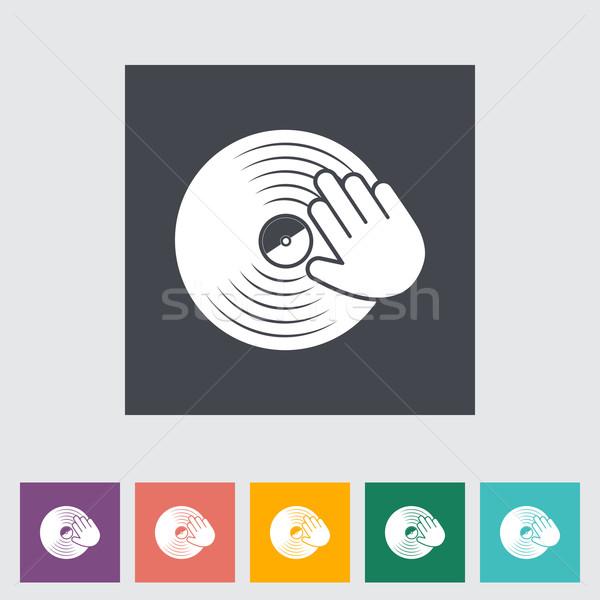 виниловых диска стороны икона кнопки музыку Сток-фото © smoki