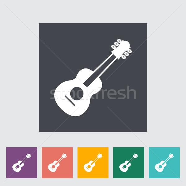 Gitar Ikon Düğme Web Boyama Siluet Vektör Ilüstrasyonu