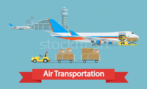 Air cargo transportation concept. Flat style illustration. Logistic concept. It can be used as -pict Stock photo © smoki