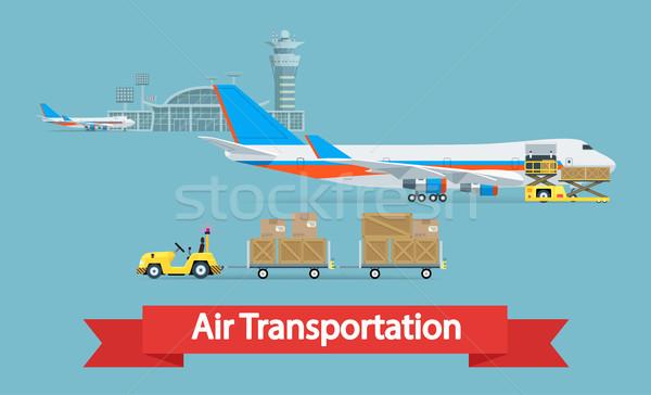 Lucht vracht vervoer stijl illustratie kan Stockfoto © smoki
