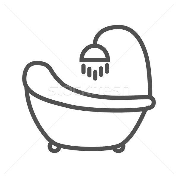 Banyo ikon hat ince vektör yalıtılmış Stok fotoğraf © smoki