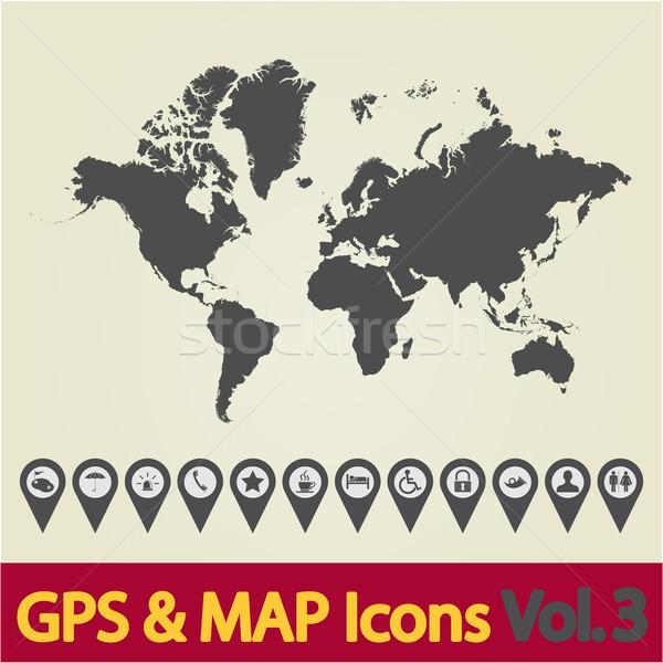 World map icon 3 Stock photo © smoki