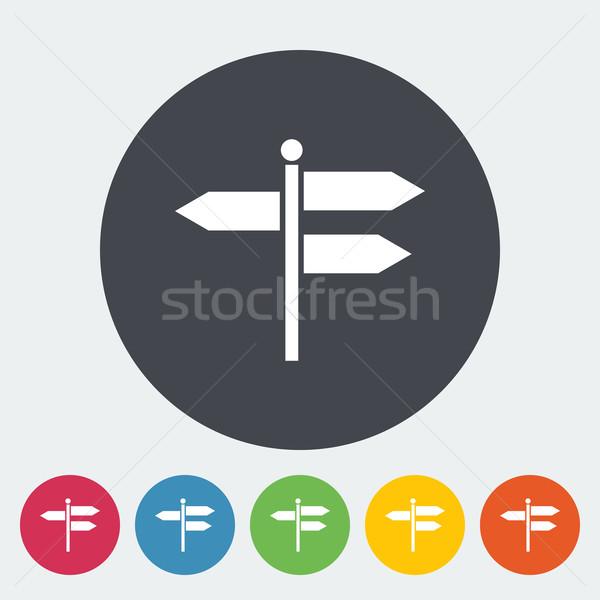 Tabelasını ikon daire sanat imzalamak mavi Stok fotoğraf © smoki