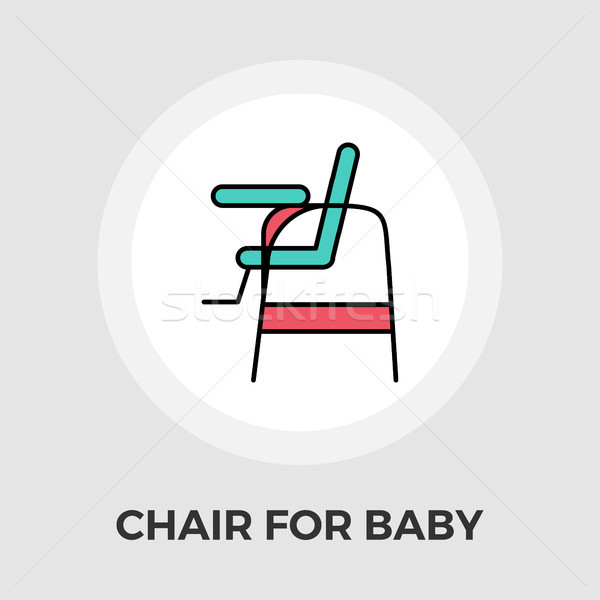 Stock photo: Chair for baby Vector Flat Icon