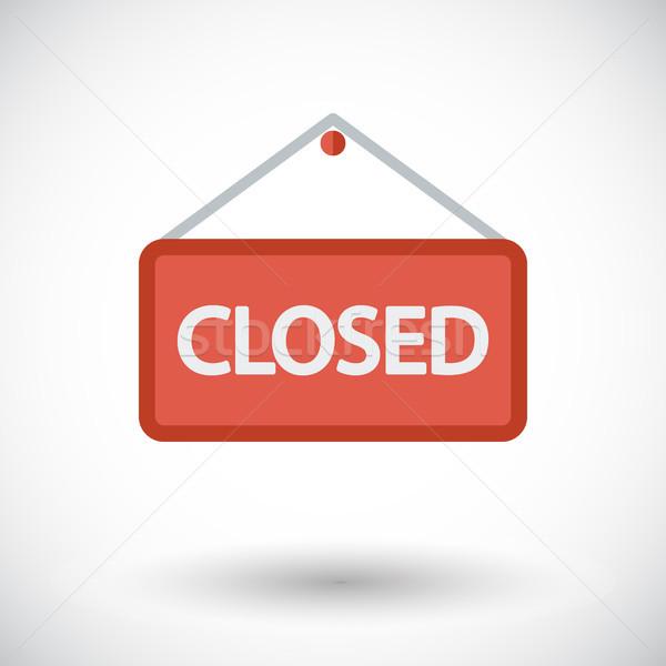 Cerrado signo icono blanco puerta rojo Foto stock © smoki