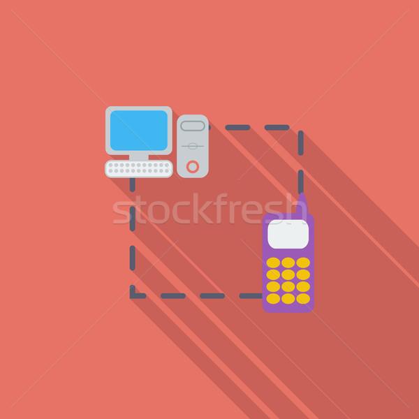 Stok fotoğraf: Telefon · ikon · vektör · uzun · gölge · web