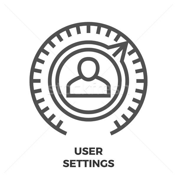 Felhasználó beállítások vonal ikon vékony vektor Stock fotó © smoki