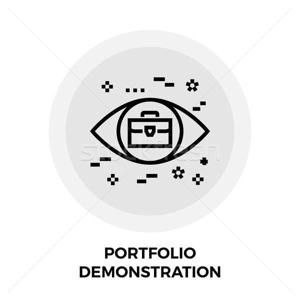 Portfela demonstracja line ikona wektora odizolowany Zdjęcia stock © smoki