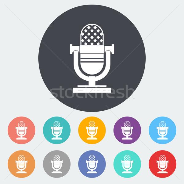 Ikon bağbozumu mikrofon daire müzik dizayn Stok fotoğraf © smoki