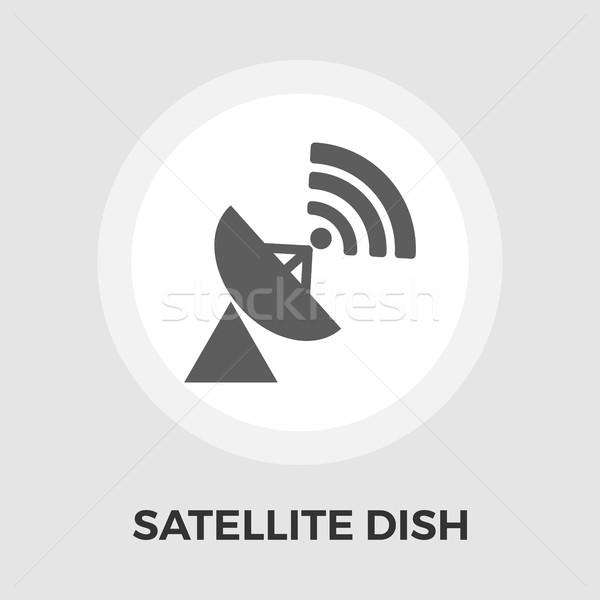 Satellite antenna flat icon Stock photo © smoki