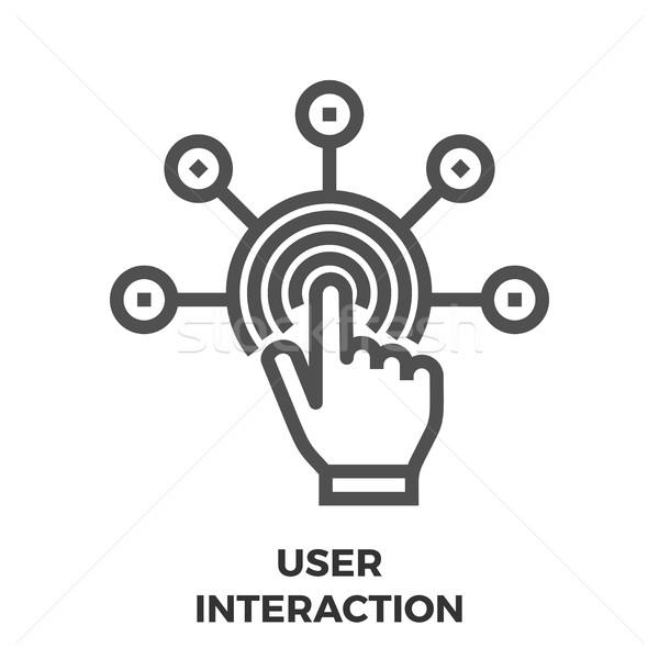 Utilizator interactiune linie icoană subtire vector Imagine de stoc © smoki