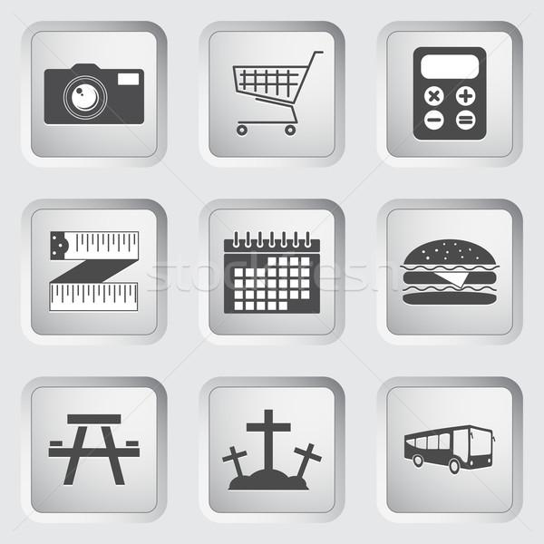 Stock fotó: Ikonok · gombok · web · design · szett · mobil · applikációk